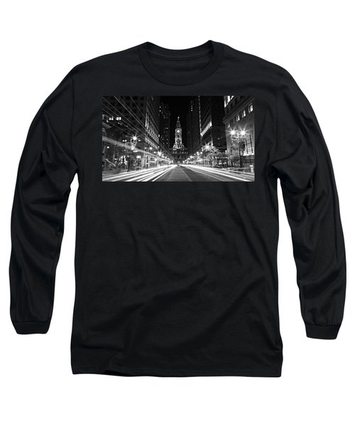 Philadephia City Hall -- Black And White Long Sleeve T-Shirt
