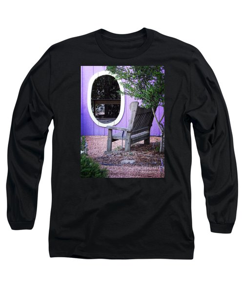 Long Sleeve T-Shirt featuring the photograph Picture Perfect Garden Bench by Ella Kaye Dickey