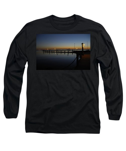 Pier At Chandlers Landing Rockwall Tx Long Sleeve T-Shirt by Charles Beeler