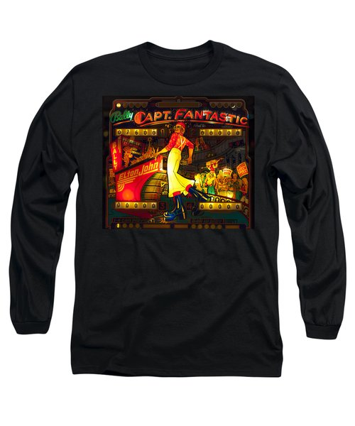 Pinball Machine Capt. Fantastic Long Sleeve T-Shirt by Terry DeLuco