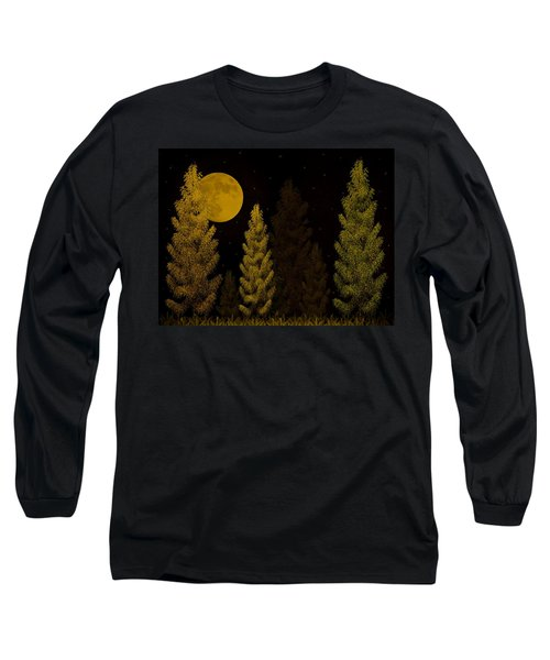 Pine Forest Moon Long Sleeve T-Shirt