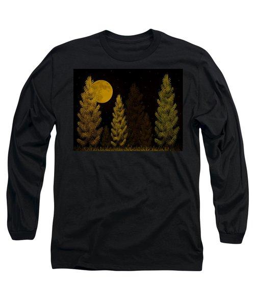 Pine Forest Moon Long Sleeve T-Shirt