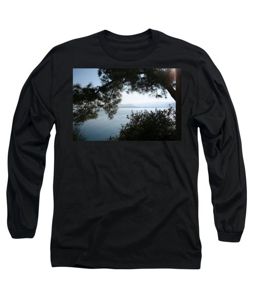 Long Sleeve T-Shirt featuring the photograph Pine Trees Overhanging The Aegean Sea by Tracey Harrington-Simpson
