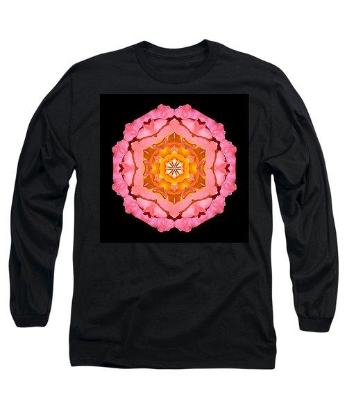 Pink And Orange Rose I Flower Mandala Long Sleeve T-Shirt