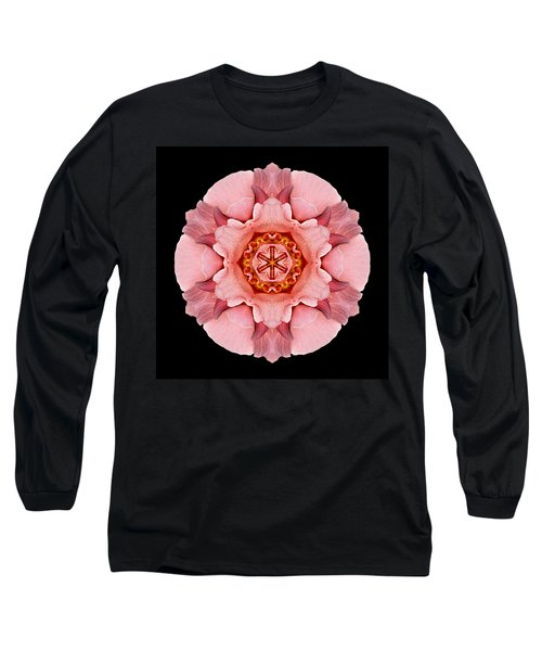 Long Sleeve T-Shirt featuring the photograph Pink And Orange Rose Iv Flower Mandala by David J Bookbinder