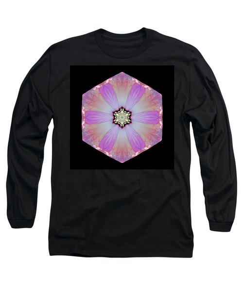 Long Sleeve T-Shirt featuring the photograph Pink And White Hibiscus Moscheutos I Flower Mandala by David J Bookbinder