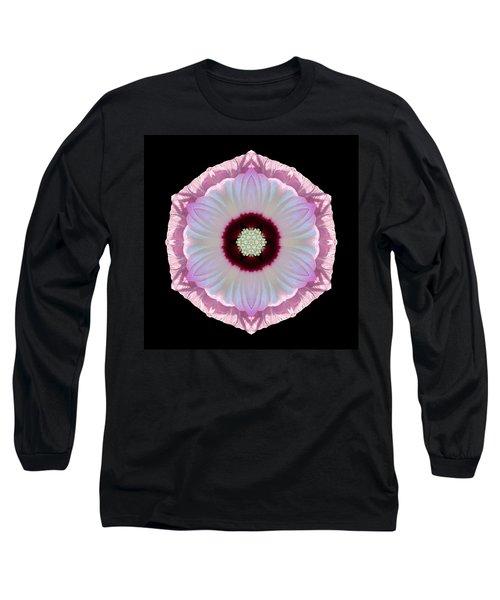Pink And White Hibiscus Moscheutos Vii Flower Mandala Long Sleeve T-Shirt