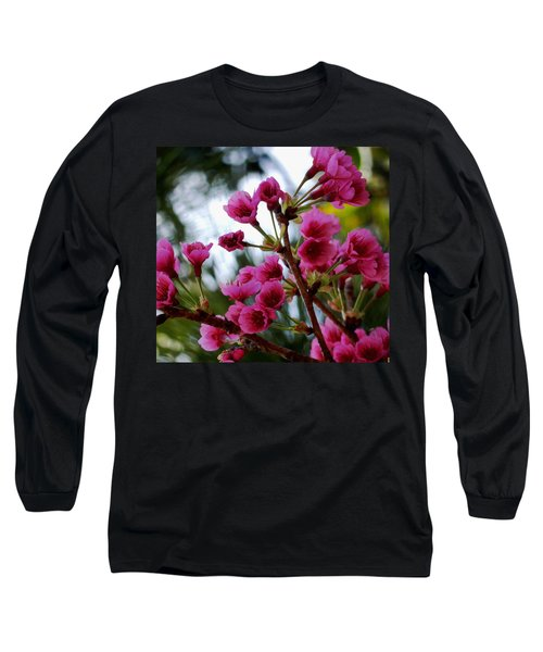 Pink Cherry Blossoms Long Sleeve T-Shirt by Pamela Walton
