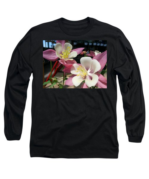 Long Sleeve T-Shirt featuring the photograph Pink Columbine by Caryl J Bohn
