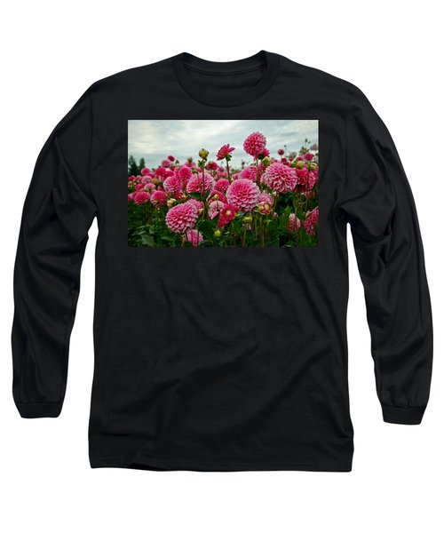 Pink Dahlia Field Long Sleeve T-Shirt