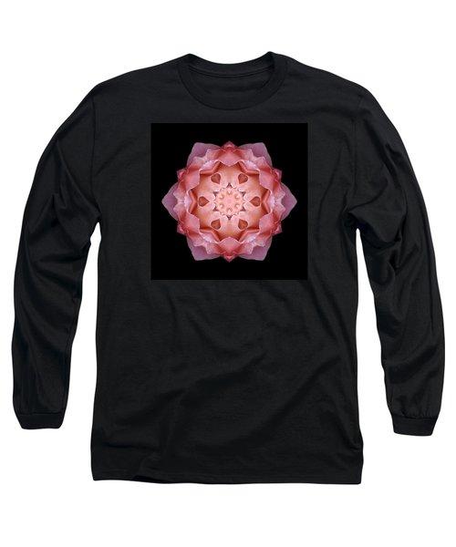 Pink Fall Rose Flower Mandala Long Sleeve T-Shirt