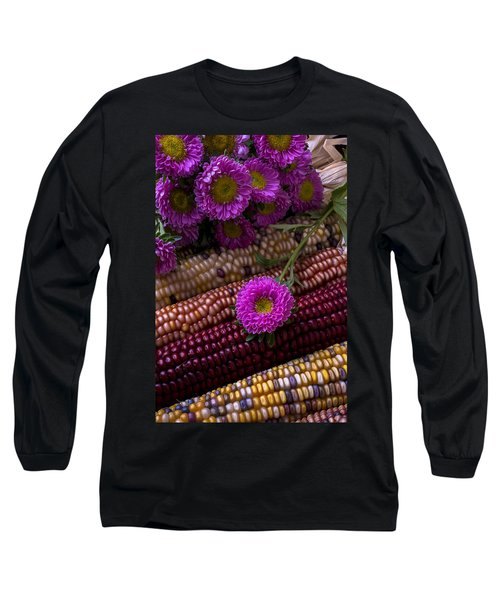Pink Flower And Corn Long Sleeve T-Shirt