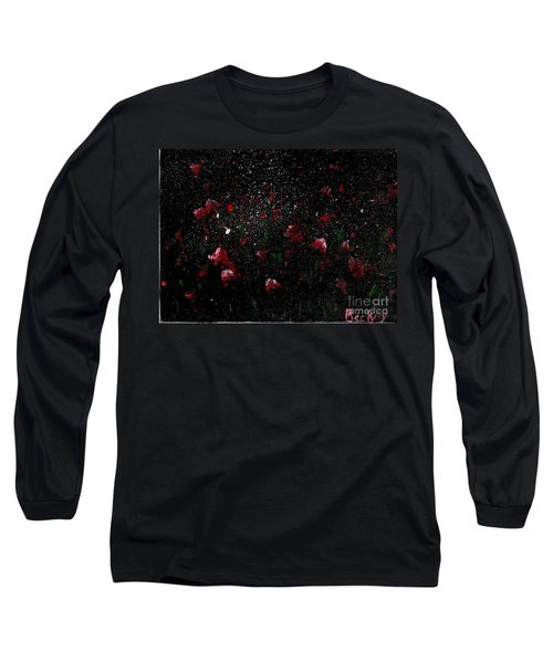Long Sleeve T-Shirt featuring the painting Pink Flowers In Twilight by Becky Lupe