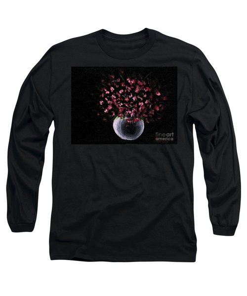 Long Sleeve T-Shirt featuring the painting Pink Flowers In Vase  by Becky Lupe