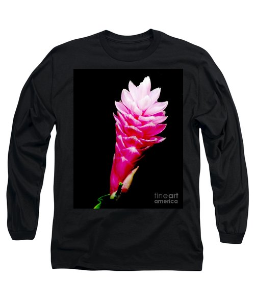 Pink Ginger Lilly Long Sleeve T-Shirt by Amar Sheow