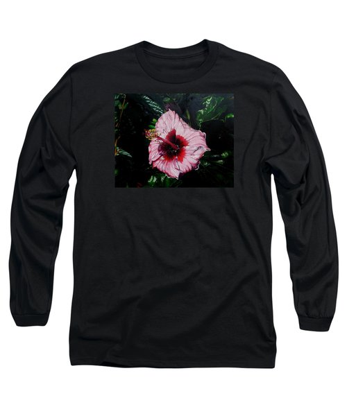 Pink Hibiscus Long Sleeve T-Shirt by Raymond Perez