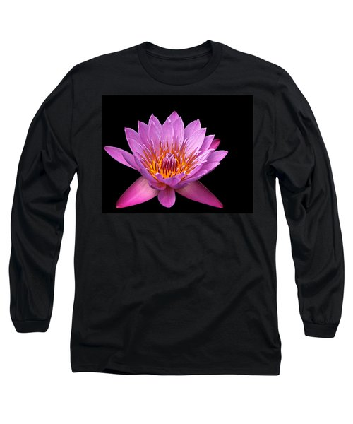 Long Sleeve T-Shirt featuring the photograph Pink Lady On Black by Judy Vincent