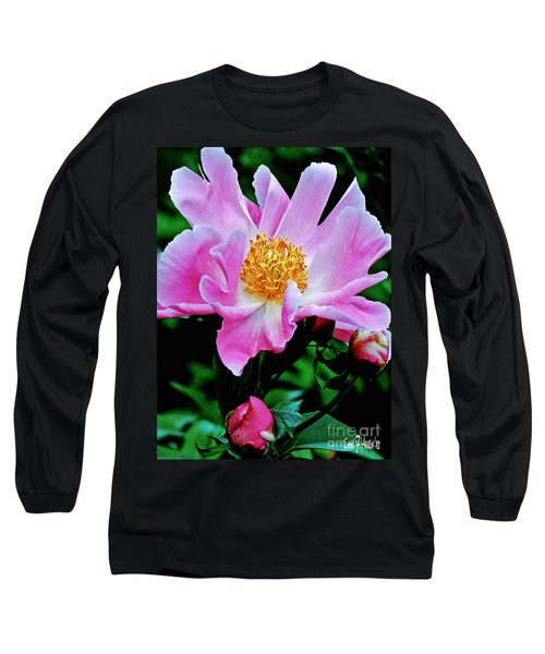 Pink Peony Garden  Long Sleeve T-Shirt by Carol F Austin