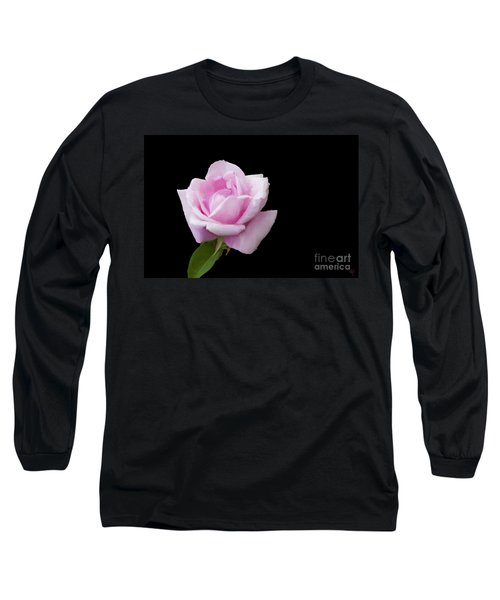 Long Sleeve T-Shirt featuring the digital art Pink Rose On Black by Victoria Harrington