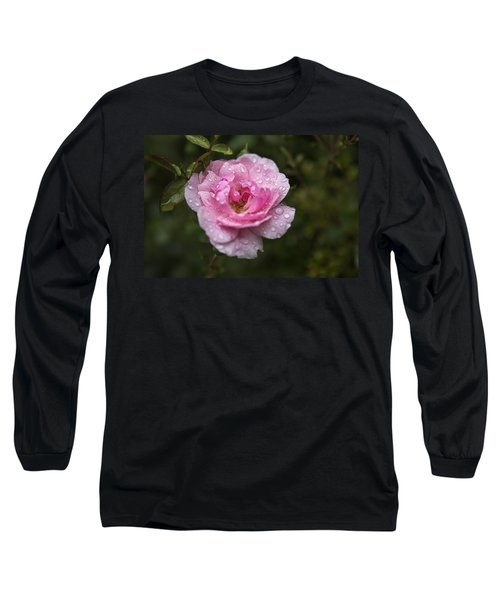Pink Rose With Raindrops Long Sleeve T-Shirt by Belinda Greb