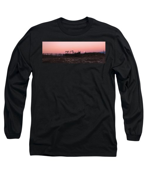 Pink Sunset Over Corral Long Sleeve T-Shirt by Cathy Anderson