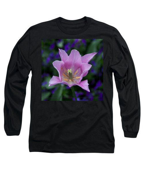 Pink Tulip Flower With A Spot Of Green Fine Art Floral Photography Print Long Sleeve T-Shirt by Jerry Cowart