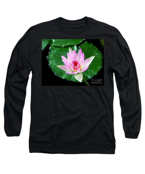 Long Sleeve T-Shirt featuring the photograph Pink Waterlily Flower by David Lawson