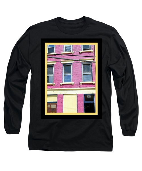 Long Sleeve T-Shirt featuring the photograph Pink Yellow Blue Building by Kathy Barney