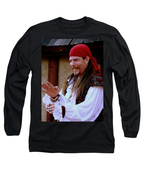 Pirate Shantyman Long Sleeve T-Shirt by Rodney Lee Williams