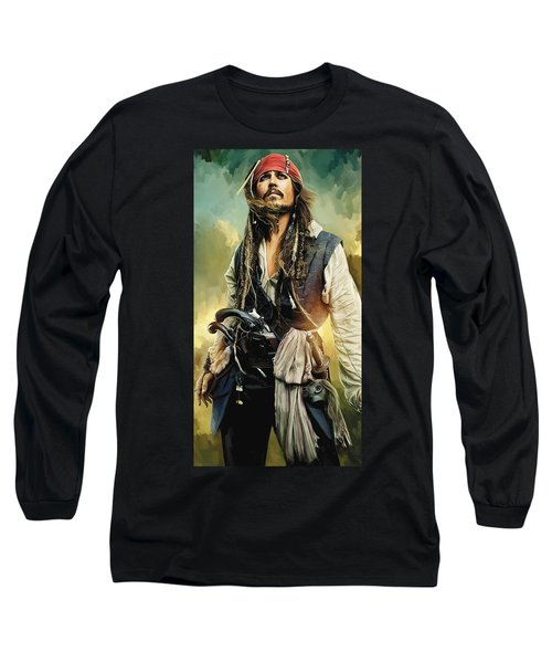 Pirates Of The Caribbean Johnny Depp Artwork 1 Long Sleeve T-Shirt by Sheraz A