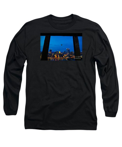 Pittsburgh Skyline At Night Long Sleeve T-Shirt