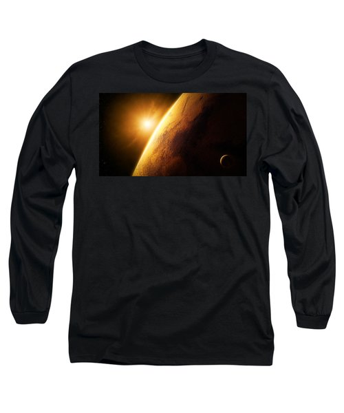 Planet Mars Close-up With Sunrise Long Sleeve T-Shirt