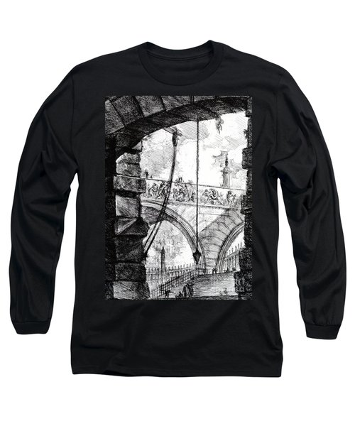 Plate 4 From The Carceri Series Long Sleeve T-Shirt