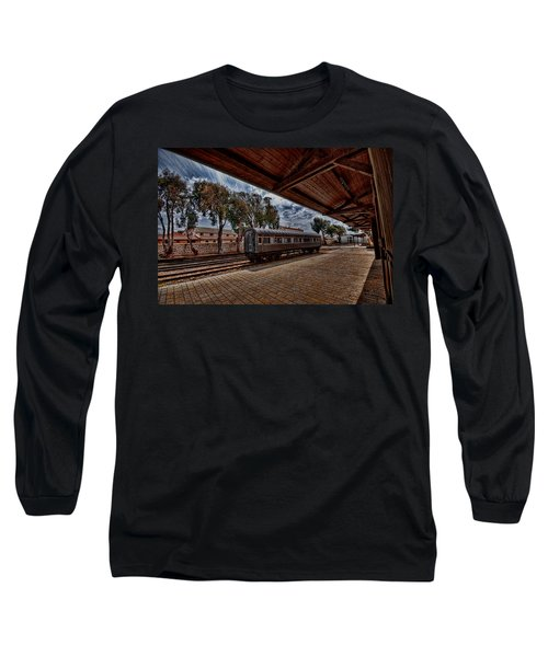 Long Sleeve T-Shirt featuring the photograph platform view of the first railway station of Tel Aviv by Ron Shoshani