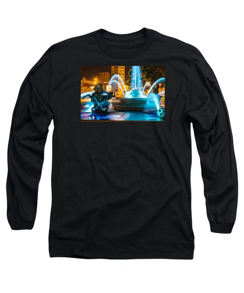 Plaza Blue Fountain Long Sleeve T-Shirt by Steven Bateson