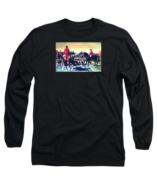Long Sleeve T-Shirt featuring the photograph Plum Run Hunt Opening Day by Angela Davies