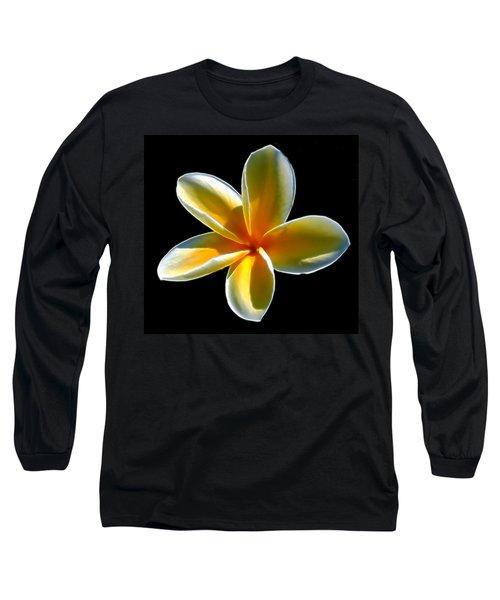 Plumeria Against Black Long Sleeve T-Shirt