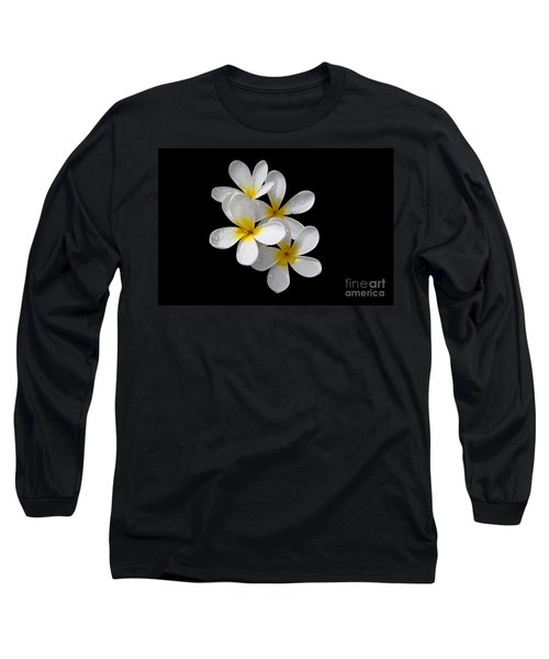 Plumerias Isolated On Black Background Long Sleeve T-Shirt by David Millenheft