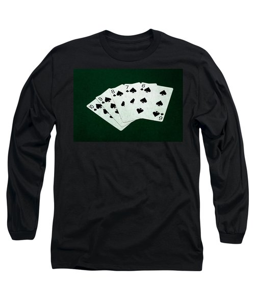 Poker Hands - Straight Flush 1 Long Sleeve T-Shirt by Alexander Senin