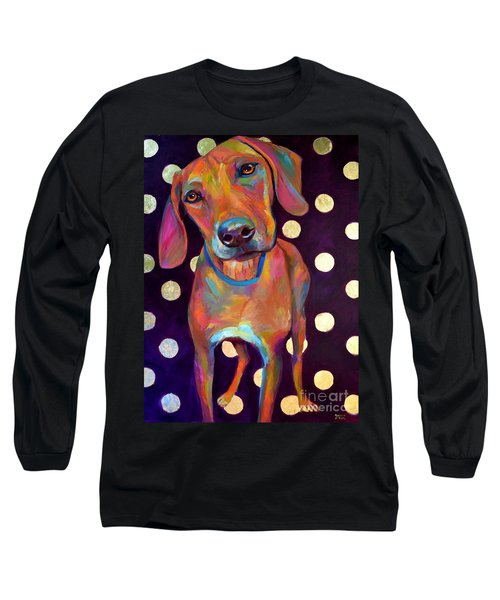 Long Sleeve T-Shirt featuring the painting Polka Pooch by Robert Phelps