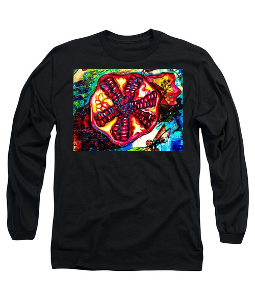 Pomegranate And Dragonfly Long Sleeve T-Shirt
