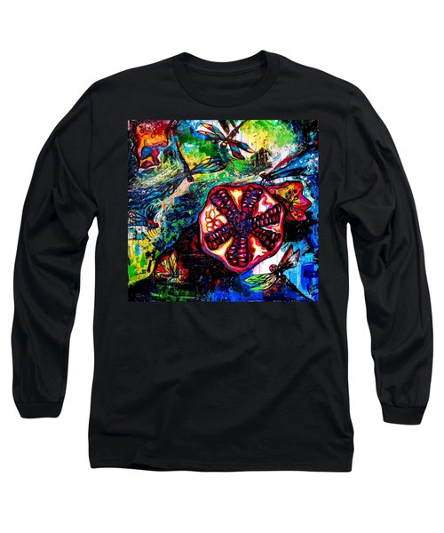 Pomegranate And Six Dragonflies Long Sleeve T-Shirt