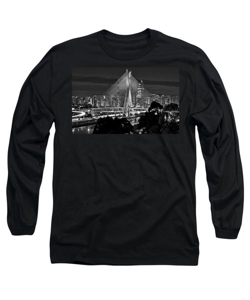 Sao Paulo - Ponte Octavio Frias De Oliveira By Night In Black And White Long Sleeve T-Shirt