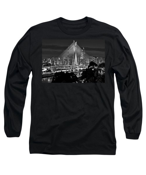 Sao Paulo - Ponte Octavio Frias De Oliveira By Night In Black And White Long Sleeve T-Shirt