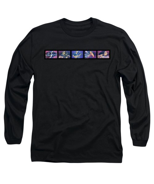 Long Sleeve T-Shirt featuring the drawing Pop-op Full Band by Joshua Morton