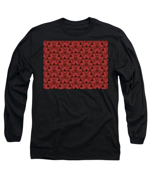 Long Sleeve T-Shirt featuring the digital art Poppy Sierpinski Triangle Fractal by Judi Suni Hall