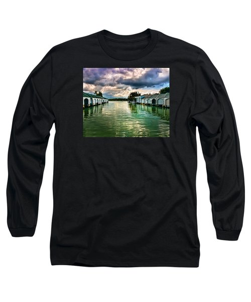 Storm Clouds Over  Port Royal Boathouses In Naples Long Sleeve T-Shirt