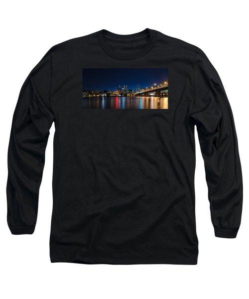 Portland Oregon Nightscape Long Sleeve T-Shirt by Don Schwartz