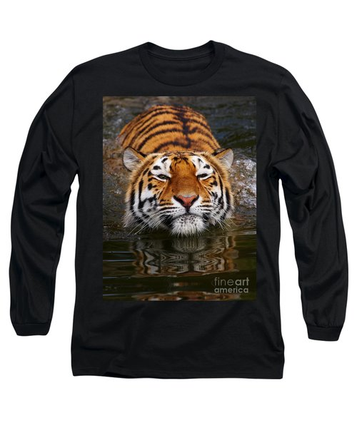 Portrait Of A Bathing Siberian Tiger Long Sleeve T-Shirt