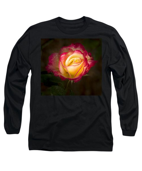 Portrait Of A Double Delight Rose Long Sleeve T-Shirt by Jean Noren